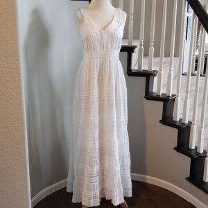 Boho Chic White Embroidered Maxi Dress